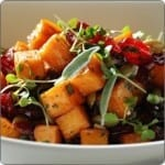 Roasted Sweet Potatoes with Dried Cranberries and Toasted Pumpkin Seeds