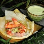 "Chefs Mark Gaier and Clark Frasier and Lobster in a ""Paper Bag"" with Green Curry"