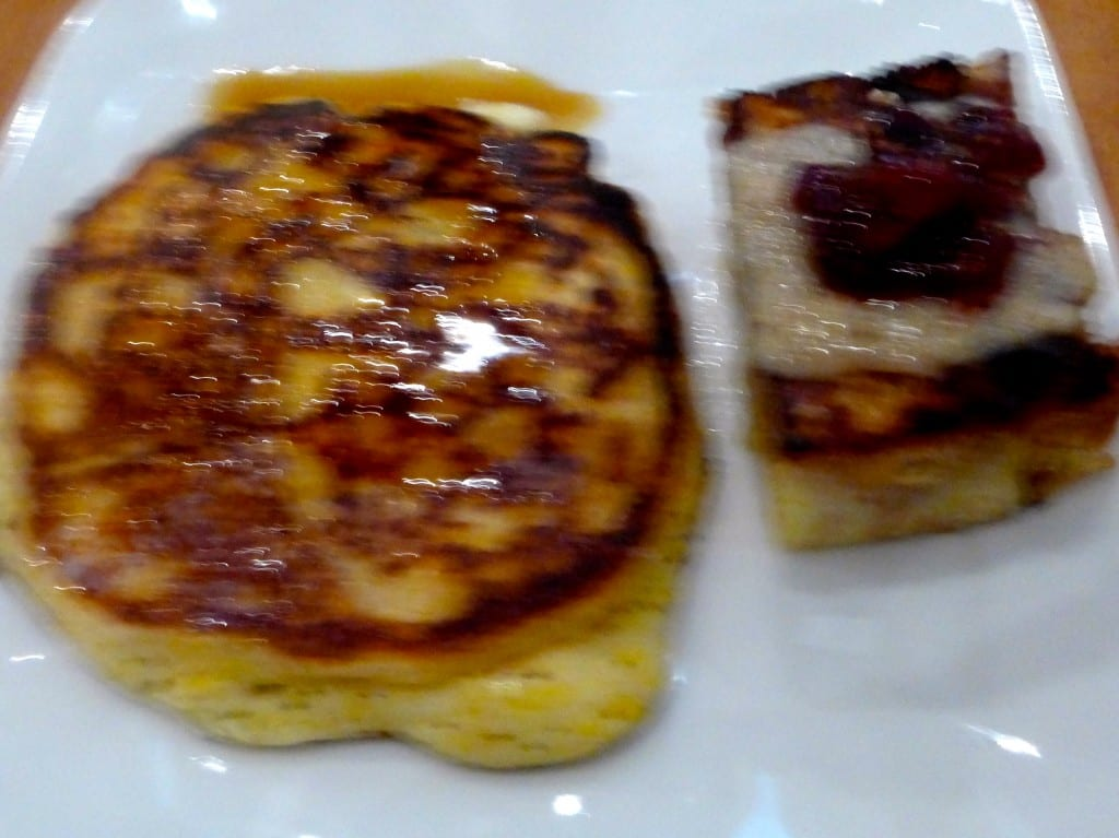 Hayden Mills Polenta Hoe Cakes with Maple Syrup and Bread Pudding and Preserves Photo: Maralyn D. Hill
