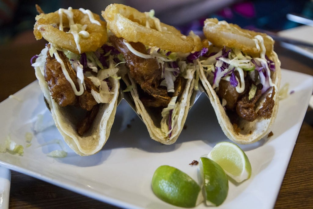 Crunchy juicy soft shell crab tacos at Junction. Photo by Tom Plant