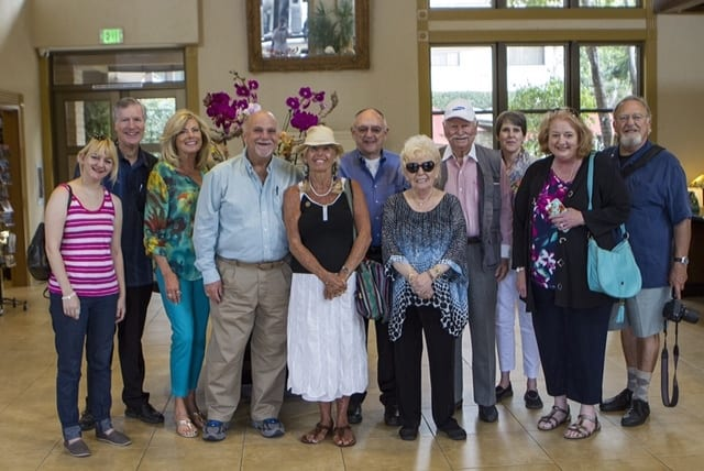 Photo of IFWTWA writers taken with Tom Plant's camera by Ron Antonette of Discover Claremont.