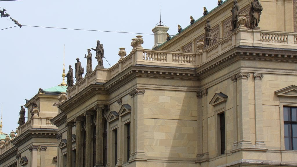 Prague Arts Building with Statues